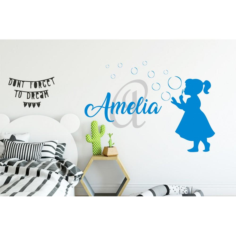Sticker Fetita + Nume personalizat
