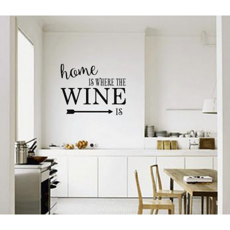 Sticker Citat ''Home is where the Wine Is''