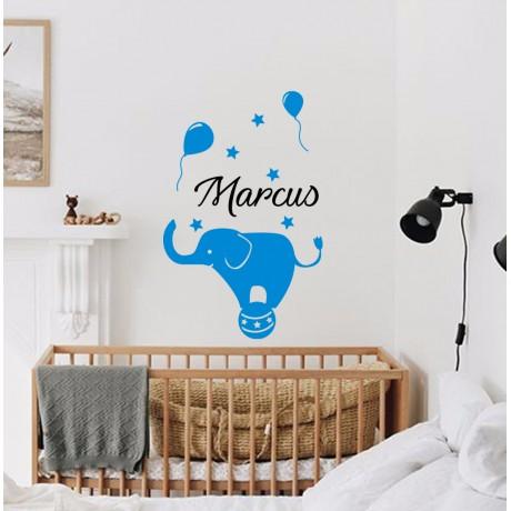 Sticker Elefant + Nume personalizat
