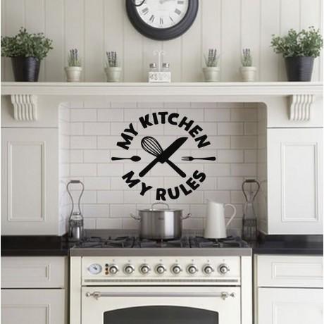 Sticker Citat ''My Kitchen My Rules''
