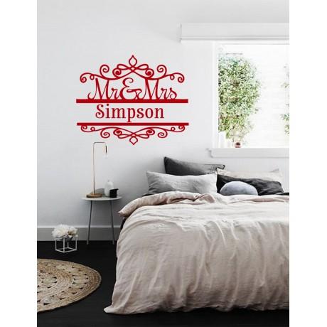 Sticker pentru living cu Numele de Familie