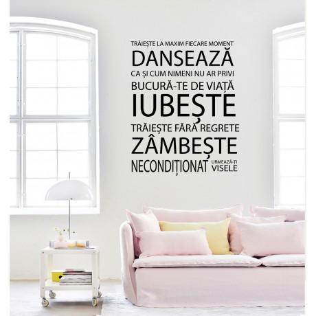 Sticker Citat ''Dansează,Iubește,Zîmbește''